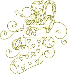 Christmas Time Stocking embroidery design