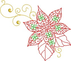 Christmas Poinsettia Flower embroidery design