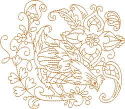 Hen Quilt Block embroidery design