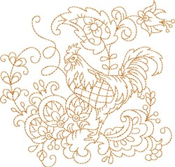 Chicken Quilt Square embroidery design