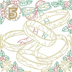 Christmas Day 5 embroidery design