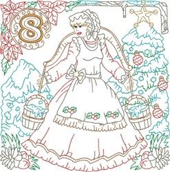 Christmas Day 8 embroidery design