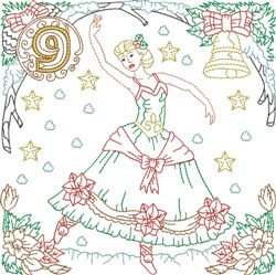 Christmas Day 9 embroidery design