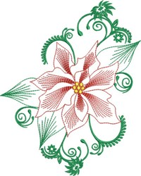 Holiday Poinsette Flower embroidery design