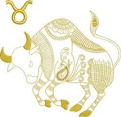 Taurus Zodiac Quilt Block embroidery design