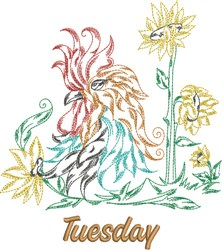 Tuesday Rooster embroidery design
