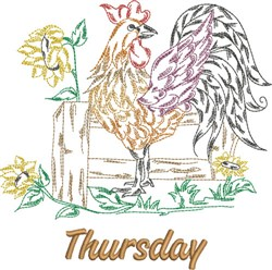 Thursday Rooster embroidery design