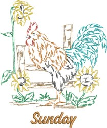 Sunday Rooster embroidery design