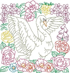 Floral Swan Quilt Block embroidery design