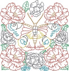 Floral Butterfly Quilt Block embroidery design