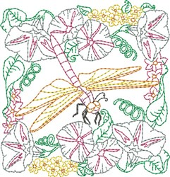 Floral Dragonfly Quilt Block embroidery design