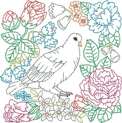 Floral Dove Quilt Block embroidery design