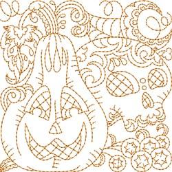 Skull Jack-o-lantern Block embroidery design