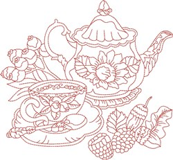 Vintage Fall Kettle embroidery design