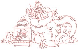 Vintage Fall Food Bag embroidery design