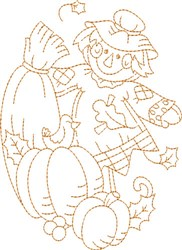 Scarecrow Oval  Quilt embroidery design