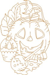 Halloween Oval Quilt Block embroidery design