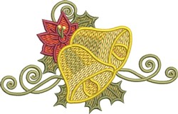 Poinsettia Christmas Bells embroidery design