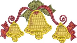 Festive Three Bells embroidery design