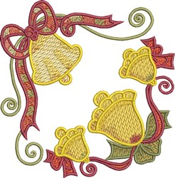 Christmas Corner Bells embroidery design