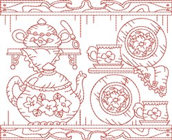Tea Time Quilt Block embroidery design