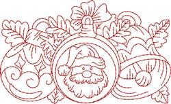 Santa Claus Redwork Border embroidery design