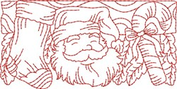 Candy Cane Redwork Border  embroidery design
