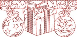 Christmas Gift Redwork Border  embroidery design