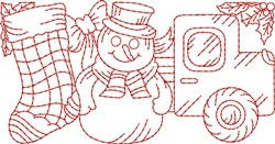Christmas Toys Redwork Border  embroidery design