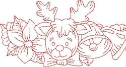 Holiday Reindeer Redwork Border  embroidery design