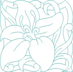 Easter Lily Quilt Block embroidery design