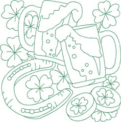 Irish Beer Block embroidery design
