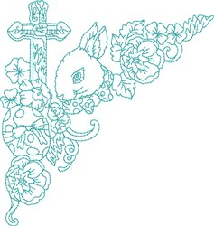 Easter Blue Work embroidery design