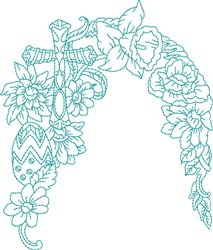 Blue Work Floral embroidery design