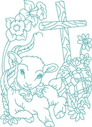 Lamb Blue Work embroidery design