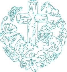 Blue Work Cross embroidery design