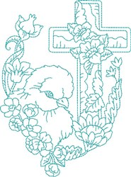Blue Work Chick embroidery design