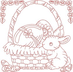 Rabbit Quilt Block embroidery design