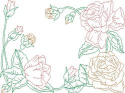 Redwork Roses Quilt Block embroidery design