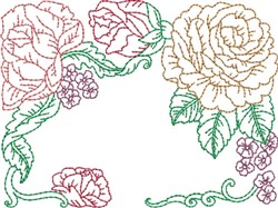 Redwork Roses Quilt Block embroidery design