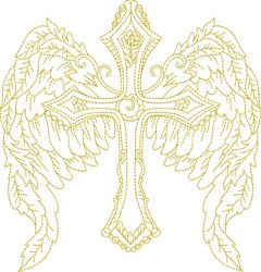 Winged Religious Cross embroidery design