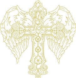 Winged Outline Cross embroidery design