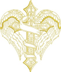Winged Banner Cross embroidery design