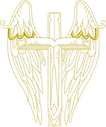 Christian Winged Cross embroidery design