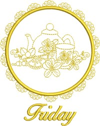 Friday Tea Towel embroidery design