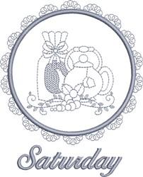 Saturday Tea Towel embroidery design