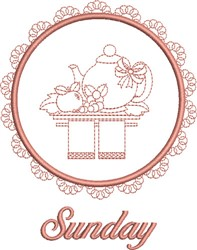 Sunday Tea Towel embroidery design