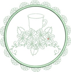 Tea Towel Teacup embroidery design