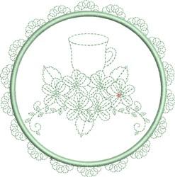 Tea Towel Teacup embroidery design