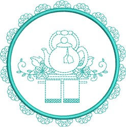 Tea Towel Teapot embroidery design